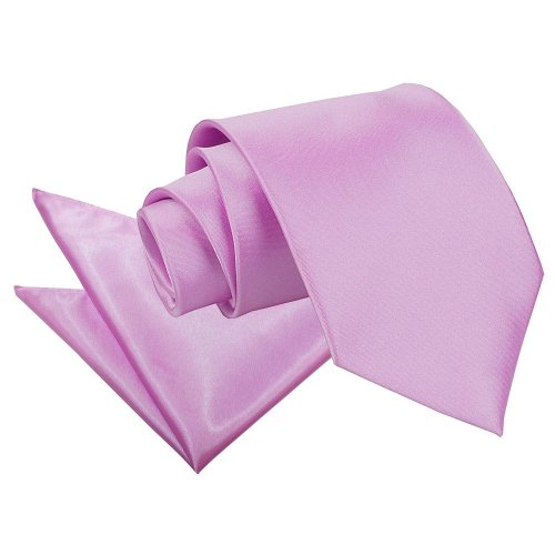 Lilac Plain Satin Tie & Pocket Square Set