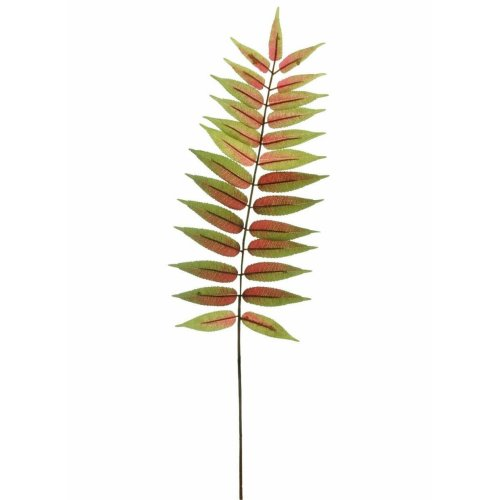Artificial Green & Red Byfield Fern Leaf - 72cm - Faux Foliage
