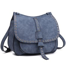 (Blue) Miss Lulu Faux Suede Satchel | Faux Suede Messenger Bag