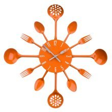 Kitchen Cutlery Wall Clock - Orange