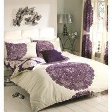 Manhatten cream/aubergine duvet cover bedding set