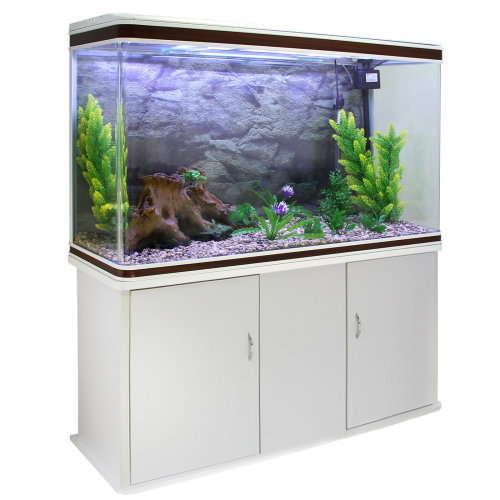 Aquarium Fish Tank Cabinet Complete Set Up White Tank & Natural Gravel