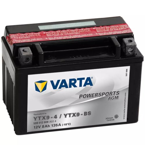 Varta Sealed and Charged Motorcycle Battery Powersports AGM YTX9-4 / YTX9-BS