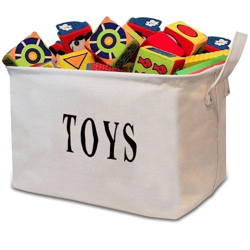"""Tougo Large Size White 17""""Jute """"TOY"""" Storage Basket Bin Chest Organizer perfect for Toy Storage,Storage Basket for organizing Baby Toys, Kids Toys,..."""