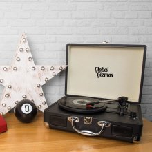 Global Gizmos Portable Bluetooth Retro Suitcase Turntable with Built In Speakers and MP3 Transfer - Black