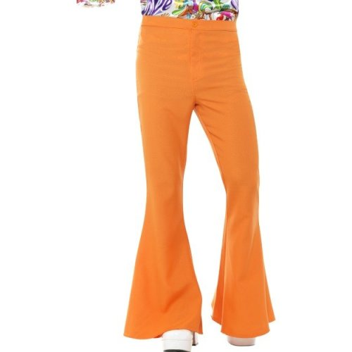 Large Orange Mens Flared Trouser - Trousers Fancy Dress Disco Costume Flares -  flared trousers mens fancy dress disco costume flares 70s orange 60s
