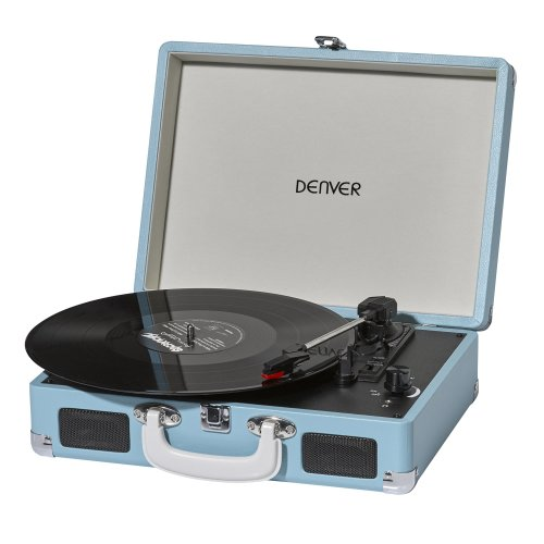 Denver VPL-120 Turquoise / Light Blue 3 Speed Vinyl Record Player with Stereo Speakers, Suitcase / Briefcase Style