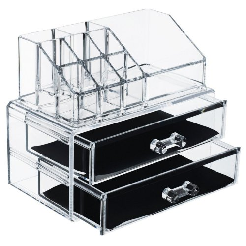 Deco Express Premium Make Up Jewelry Cosmetic Organiser 2 Tier Makeup Organizer Display Vanity Case Stand