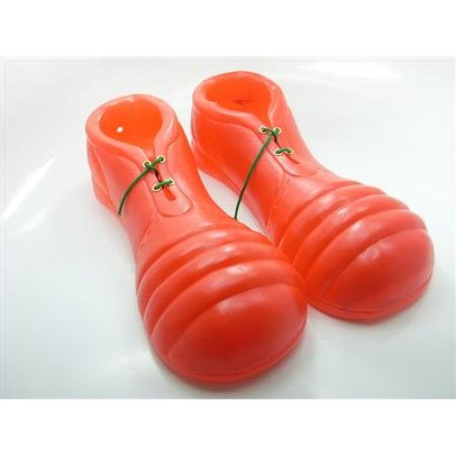 Red Adults Pvc Clown Shoes -  shoes clown fancy dress adult costume accessory circus new pvc red