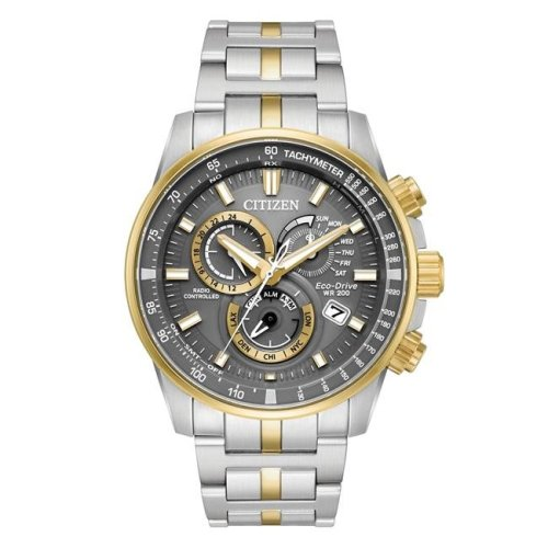 Citizen Eco-Drive Two-Tone Chronograph Mens Watch AT4124-51H