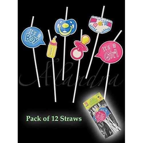 Alandra Baby Shower Straws - 12 Assorted -  baby shower straws 12 party fun assorted