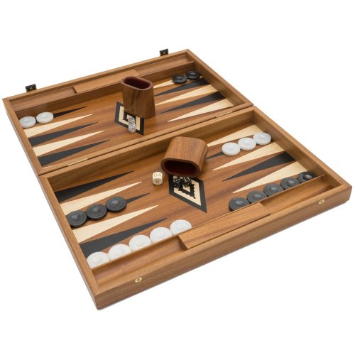 The Manopoulos Luxury Mahogany and Black Backgammon Set with Luxury Cups