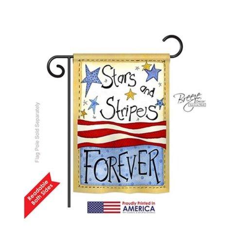 Breeze Decor 61005 Patriotic Stars & Stripes 2-Sided Impression Garden Flag - 13 x 18.5 in.