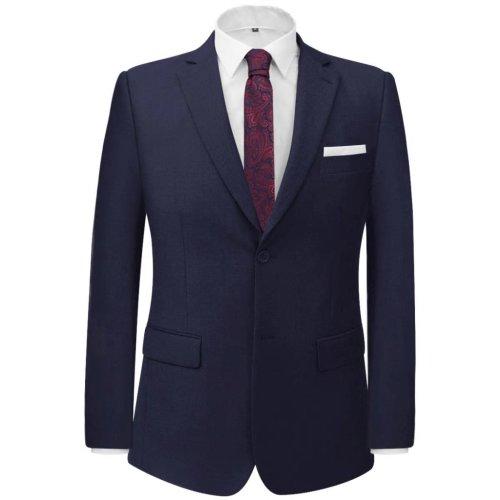 vidaXL Men's 2 Piece Business Suit Navy Size 50 Wedding Formal Jacket Trousers