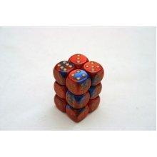 Chessex Gemini 16mm D6 x 12 - Blue-Red/gold