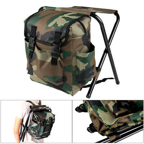 UK 2 in 1 Fishing Hunting Stool Backpack Rucksack Seat Chair Bag Camping Hiking