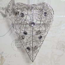 Large Wire Heart with Crystals