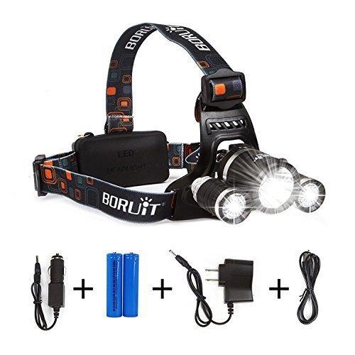 boruit led headlamp rechargeable waterproof head flashlight lamp with 3 cree xm l t6