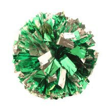 2 Of Metallic Foil & Plastic Ring Pom Poms Cheerleading Poms GREEN+SILVER