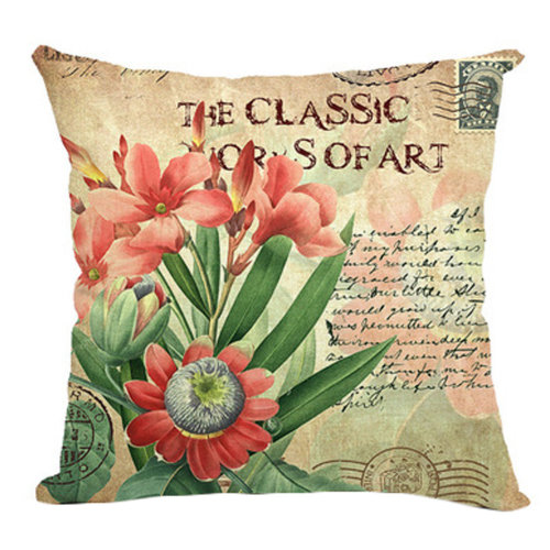 Retro Sweet Flowers Cotton Linen Decorative Throw Pillow Case Cushion Cover F
