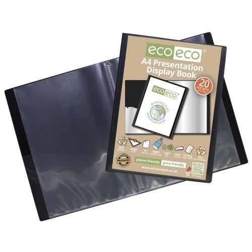 1 x A4 Recycled 20 Pocket (40 Views) Presentation Display Book - Black