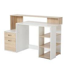 Homcom Wooden Computer Desk Pc Modern Home Office Printer Shelf W/ Storage
