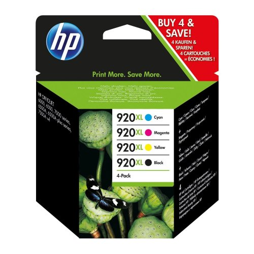 4pk HP 920XL High Yield Black, Cyan, Magenta & Yellow Ink Cartridges