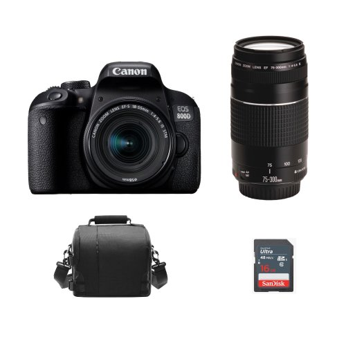 CANON 800D + EF-S 18-55 IS STM+ EF 75-300 F4-5.6 III + Bag + 16GB card