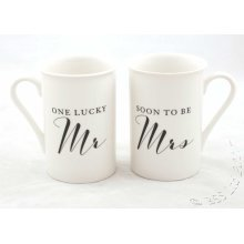 One Lucky Mr ~ Soon to be Mrs Gift Set of 2 China Mugs WG820
