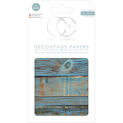 "Craft Consortium Decoupage Papers 13.75""X15.75"" 3/Pkg-Blue Brushed Wood"