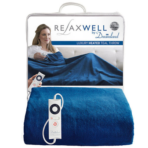 Relaxwell By Dreamland Luxury Heated Teal Throw