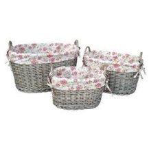 Set of 3 Garden Rose Lining Antique Wash Oval Wicker Storage Baskets