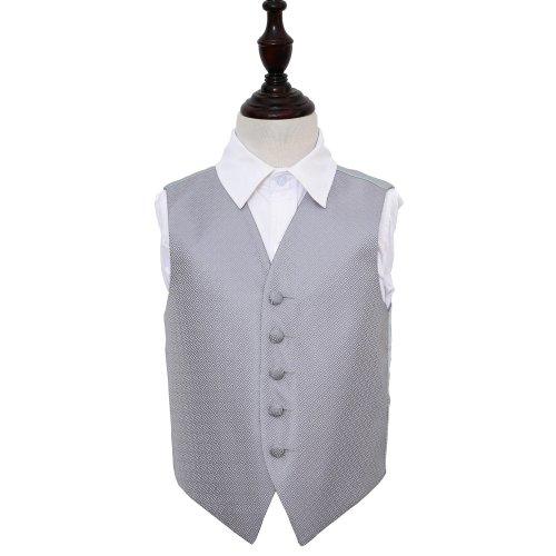 Silver Greek Key Wedding Waistcoat for Boys 28'