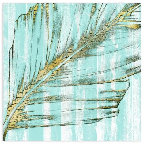 Empire Art Direct TMP-126381-3838 38 x 38 in. Beach Frond in Gold I Frameless Tempered Glass Panel Contemporary Wall Art