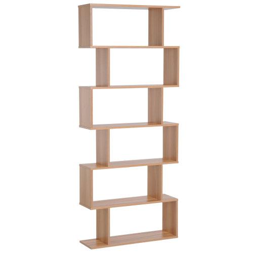 HOMCOM 6 Tier Wooden Modern S-Shaped Shelf Unit Storage Display Towel Home Organiser Maple Colour