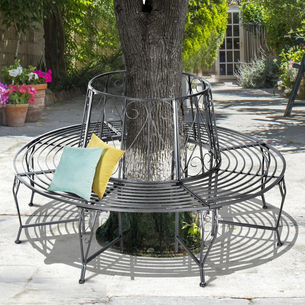 Outsunny Outdoor Garden Metal Round Tree Bench Dia160 X