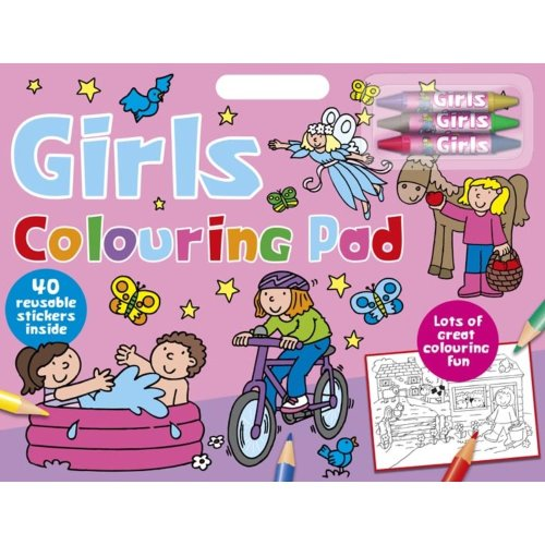 Kids Girls Colouring Artist Large Pad With Over 40 Stickers & Coloured Crayons