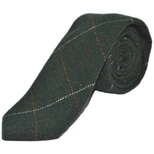 Luxury Herringbone Forest Green Tweed Tie, Mens Necktie