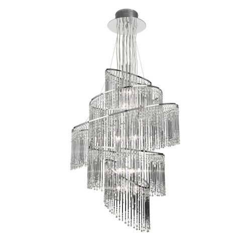 Modern Chrome Chandelier With Glass Drops - 24 Light
