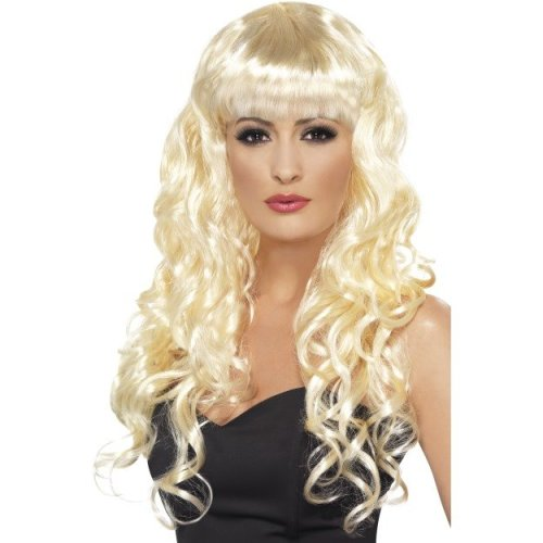 Long Blonde Smiffy's Siren Curly Wig With Fringe -  wig siren fancy dress long curly ladies blonde costume smiffys fringe