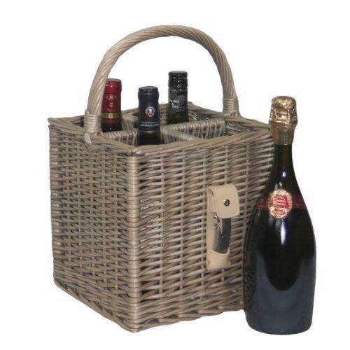 Antique Wash Finish 4 Bottle Drinks Basket