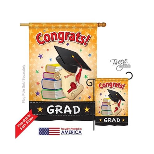 Breeze Decor 15064 School & Education Congrats Grad 2-Sided Vertical Impression House Flag - 28 x 40 in.