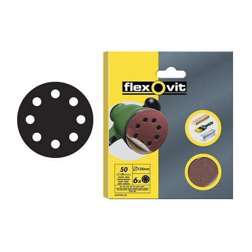 Flexovit 63642526386 Hook & Loop Sanding Discs 115mm Fine 120g Pack of 6