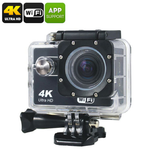 Q305 Sports Action Camera - CMOS 8MP, 4K, Wi-Fi, Smartphone App, Waterproof Case, Micro SD Card Slot, 900mAh Battery