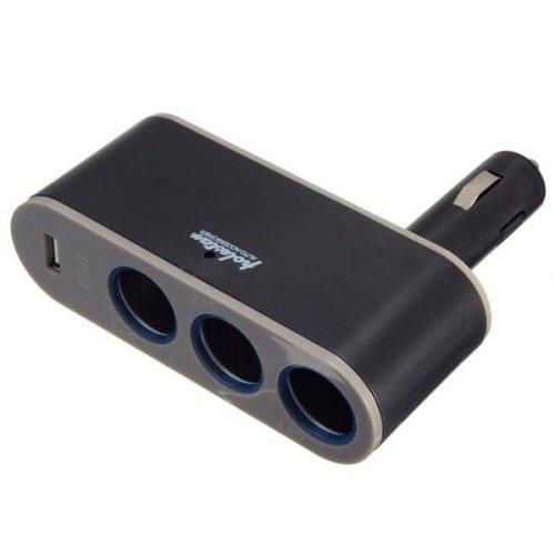 3 Socket Adapter Splitter USB Port Charger Car Cigarette Lighter