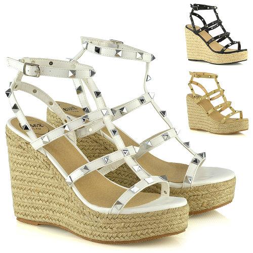 Womens High Heel Wedge Shoes Ladies Studded Espadrilles Platform Strappy Sandals