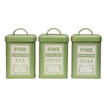 Set of 3 Whitby Tea Coffee Sugar Canisters - Green
