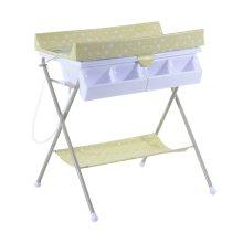 HOMCOM Baby Changing Table Baby Storage Bath Tub Unit Station Dresser Foldable Cross Leg Style (Green)