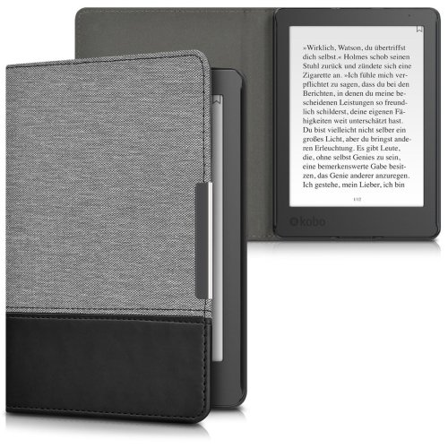 kwmobile Case for Kobo Aura Edition 2 - PU Leather and Canvas Protective e-Reader Cover Folio Case - Grey Black