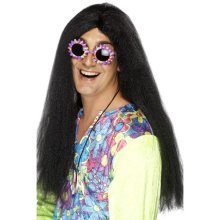 Long Black Men's Hippy Wig With Centre Parting -  wig hippy black fancy dress long 60s smiffys accessory mens hippie 70s ladies 1960s costume